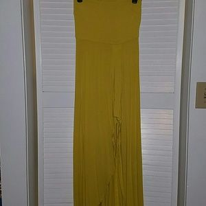 Yellow long tube dress with ruffled high cut front